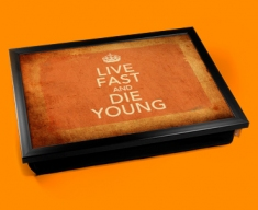 Live Fast Keep Calm Vintage Lap Tray