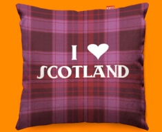 I Love Scotland Pink Funky Sofa Cushion 45x45cm