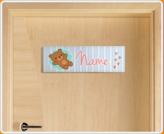 Teddy Personalised Name Children's Bedroom Door Sign